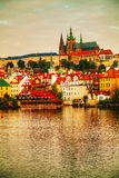 Overview of old Prague from Charles bridge side Royalty Free Stock Photography