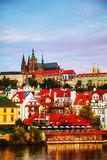 Overview of old Prague from Charles bridge side Stock Image