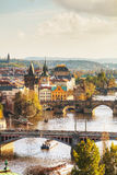 Overview of old Prague with Charles bridge royalty free stock images