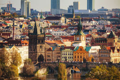 Overview of old Prague with Charles bridge stock photo