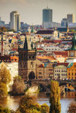 Overview of old Prague with Charles bridge Stock Photos