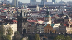 Overview of old Prague with Charles bridge stock footage