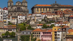 Overview of old town of Porto timelapse, Portugal stock video