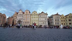 Old town square in Prague. Overview of the old town square at sunset in Prague, Czech Republic stock video footage