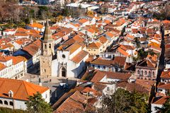 Overview of Old Town of Tomar, Portugal. Royalty Free Stock Images
