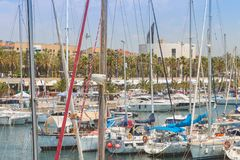 Overview of the Olympic Port of Barcelona, a marina opened in 19 Stock Photography