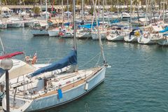 Overview of the Olympic Port of Barcelona, a marina opened in 19 Royalty Free Stock Images