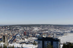 Overview of ornskoldsvik town stock photos