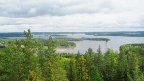 Overview at päijänne lake from the struve geodetic arc at moun. T oravivuori in puolakka finland in summer stock images