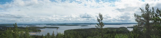 Overview at päijänne lake from the struve geodetic arc at moun. T oravivuori in puolakka finland in summer royalty free stock photo