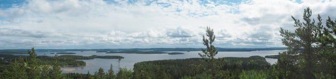 Overview at päijänne lake from the struve geodetic arc at moun. T oravivuori in puolakka finland in summer royalty free stock photo