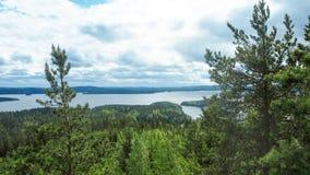 Overview at päijänne lake from the struve geodetic arc at moun. T oravivuori in puolakka finland in summer stock photography
