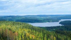 Overview at päijänne lake from the struve geodetic arc at moun. T oravivuori in puolakka finland in summer stock photos