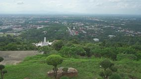 Overview pan shot of Thai city Songkhla stock footage