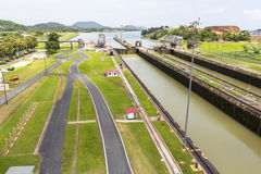 Overview of the Panama Canal at Miraflores Stock Images