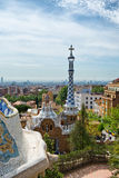 Overview of Parc Guell, Barcelona, Spain. From the main terrace showing the architecture designed by Antoni Gaudi, now a popular public garden and tourist Royalty Free Stock Photos