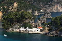 Overview on Parga Greece. Overview on the Panagias island Parga Epirus Greece Stock Images