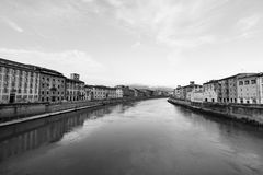 Overview of Pisa city crossed by the Arno river. Black and white overview of Pisa in Tuscany crossed by the Arno river royalty free stock images