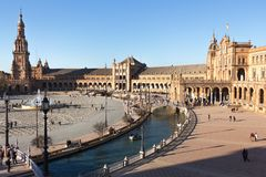 Overview of plaza de espana from a high view point stock photography