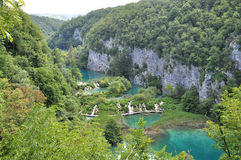 Overview of Plitvice waterfalls Stock Photos