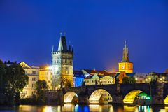 Overview of Prague, Czech Republic. At night stock image