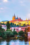 Overview of Prague, Czech Republic. At night royalty free stock image