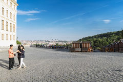Overview of Prague from the Hradcanske Square in the Old Town of stock photography
