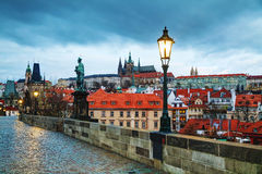 Overview of Prague with St Vitus Cathedral. At sunrise Royalty Free Stock Photos