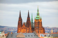 Overview of Prague with St Vitus Cathedral Stock Photos