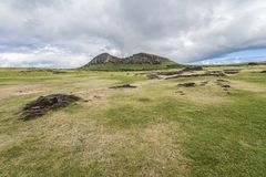 Overview 2 of the Rano Raraku volcano quarry of the moais stock photos