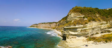 Overview of Ricadi Beach, Torre Marino, Vatican City, promontory aerial view, cliffs and sand. Calabria, Italy Stock Photos