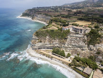 Overview of Ricadi Beach, Tower Marino, Vatican City, promontory aerial view, cliffs and sand Royalty Free Stock Image