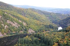 Beautiful view on the Saar river loop in autumn at Mettlach, Germany Royalty Free Stock Photo