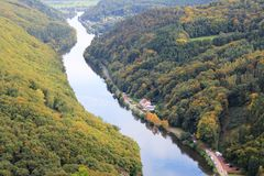 Beautiful view on the Saar river loop in autumn at Mettlach, Germany Stock Photography
