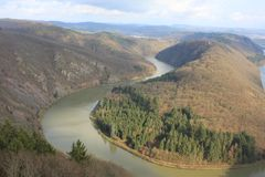 A panoramic view on the Saar river loop in autumn at Mettlach, Germany. Overview of river Saar, the loop near Mettlach, Germany. The Saar is a river in Royalty Free Stock Photography
