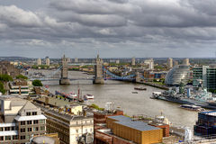 Overview of River Thames in London Royalty Free Stock Photos