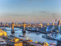Overview of River Thames in Sunset in London. Tower Bridge and Thames River - The City Hall London UK Royalty Free Stock Image