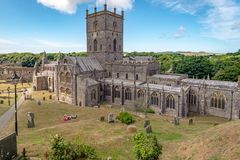 Overview of Saint Davids Cathedral, Wales stock photography