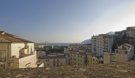 Overview of Salerno , Italy. Sea overview from Minerva Gardens, Salerno, Italy Stock Photography