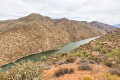 Overview of Salt River at Apache trail scenic drive, Arizona. View of Salt River at Apache trail scenic drive in the early summer morning mist. View from the Royalty Free Stock Image