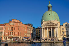Overview of the San Simeone Piccolo Church, in front of the Canal Grande in Venice. royalty free stock photos