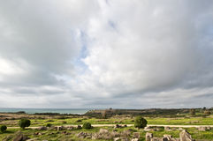 Overview of Selinunte. Overview of the archaeological site of Selinunte in Sicily stock photography