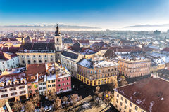Overview of Sibiu, Transylvania, Romania. View from above. Stock Photo
