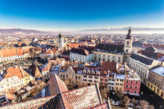 Overview of Sibiu, Transylvania, Romania. View from above. Stock Image
