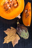 Overview of sliced pumpkin Stock Image