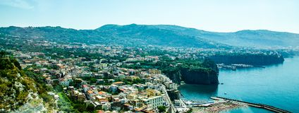 Overview of Sorrento, Italy. A wide angle view of the island of Sorrento`s coastline on the Bay of Naples in Southern Italy Stock Images