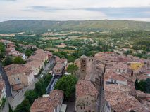 Overview of Moustiers-Sainte-Marie, France. An overview of the southern French town of Moustiers-Sainte-Marie stock image