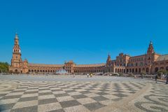 Overview of Spain Square, Plaza de Espana, in Sevilla royalty free stock images