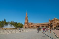 Overview of Spain Square, Plaza de Espana, in Sevilla royalty free stock photo