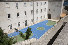 Overview of a sports court with markings Royalty Free Stock Image